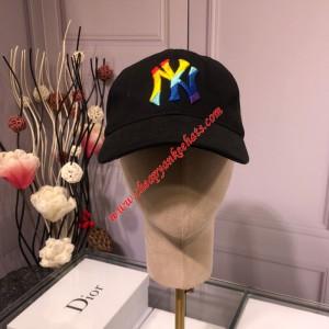MLB NY Rainbow Ball Cap New York Yankees Hat Black Outlet New York Yankees Cheap Sale Store