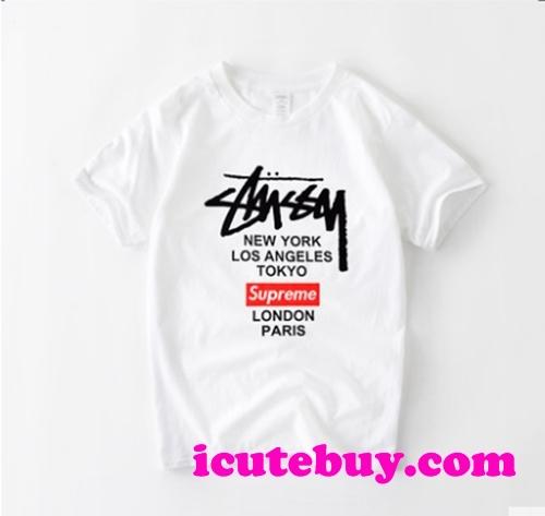 ステューシー シュプリーム コラボ Tシャツ ストリート系 芸能人愛着 新作 icutebuy.com通販