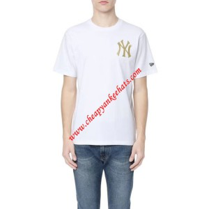 MLB NY Gold Embroidery Logo Short Sleeve T-shirt New York Yankees White Outlet New York Yankees  ...