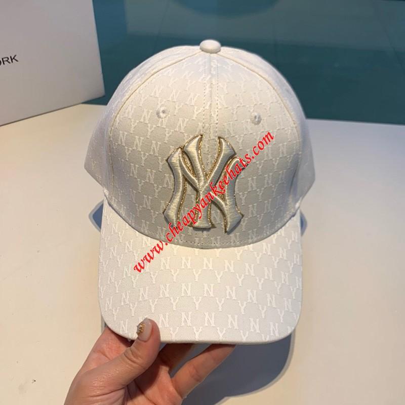 MLB NY Monogram Logo Adjustable Cap New York Yankees Hat White Outlet New York Yankees Cheap Sal ...