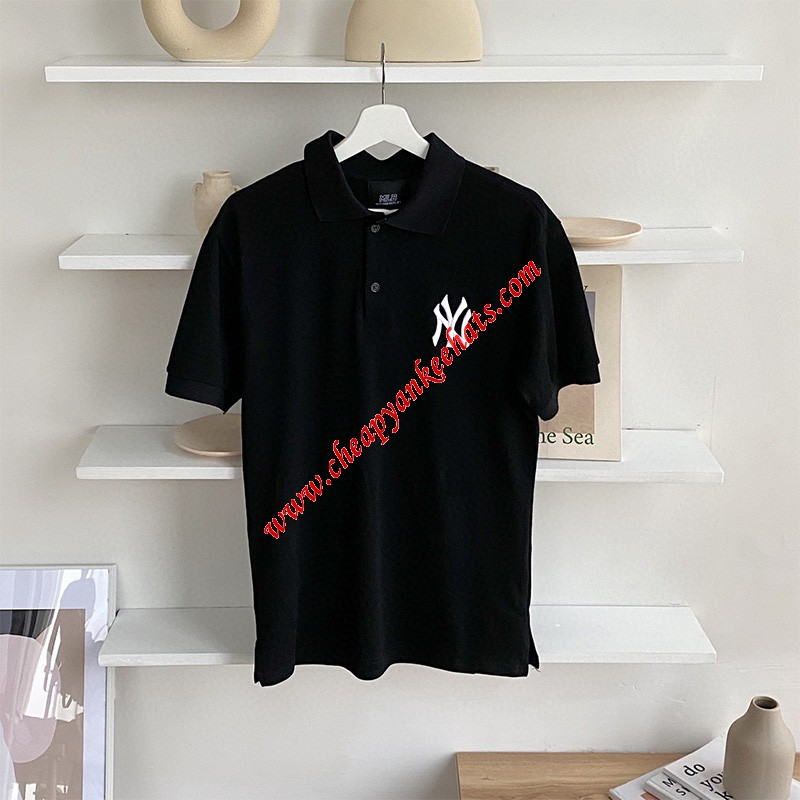 MLB NY Polo Short Sleeve T-shirt New York Yankees Black Outlet New York Yankees Cheap Sale Store