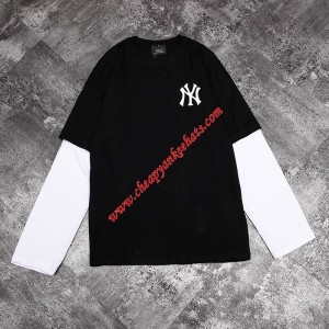 MLB NY Popcorn Big Logo Long Sleeve T-shirt New York Yankees Black Outlet New York Yankees Cheap ...