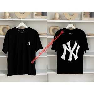 MLB NY Popcorn Big Logo Short Sleeve T-shirt New York Yankees Black Outlet New York Yankees Chea ...