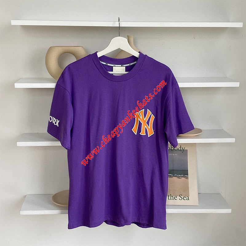 MLB NY Sleeve Symbol Short Sleeve T-shirt New York Yankees Purple Outlet New York Yankees Cheap  ...