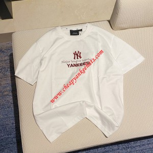MLB NY Team Logo Embroidery Short Sleeve T-shirt New York Yankees White Outlet New York Yankees  ...
