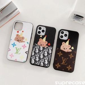 ルイヴィトン ディオール iPhone12 Pro Maxケース 可愛い熊付き アイフォン12プロ/12ミニケース カード ...