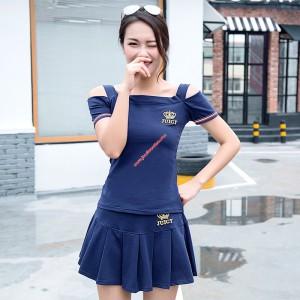 Juicy Couture Crown Juicy Velour Tracksuit 7281 2pcs Women Suits Navy Blue