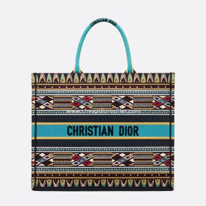 Dior Book Tote Multi-Patches Embroidery Canvas Blue