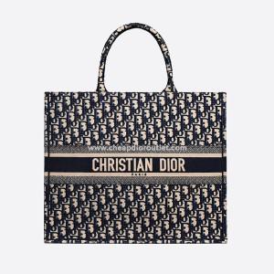 Dior Book Tote Oblique Embroidery Blue