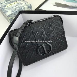 Dior 30 Montaigne Bag Weave Calfskin Black