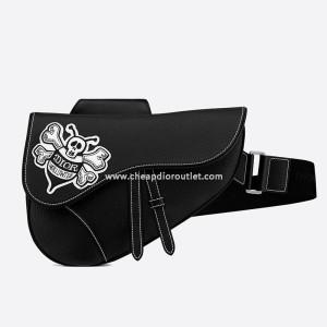 Dior Saddle Crossbody Shawn Bee Embroidery Grainded Calfskin Black