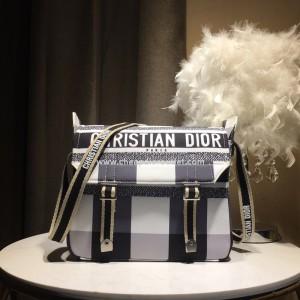 Diorcamp Messenger Bag Check Motif Canvas Black