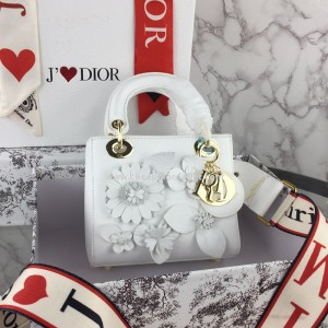 Lady Dior Bag Flowers Embroidered Lambskin White