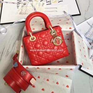 Lady Dior Bag Lambskin with 3 Badges Shoulder Strap Red