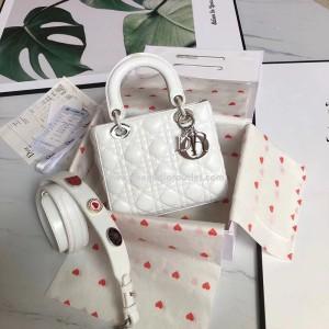 Lady Dior Bag Lambskin with 3 Badges Shoulder Strap White