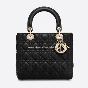 Medium Lady Dior Bag Cannage Lambskin Black