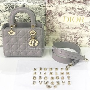 My ABCDior Lambskin Bag with Customizable Shoulder Strap Grey