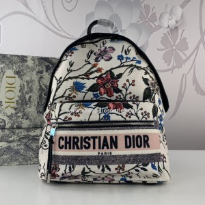Christian Dior Rider Backpack Rosa Mutabilis Embroidery Canvas White