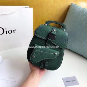 Dior Saddle Backpack Calfskin Green