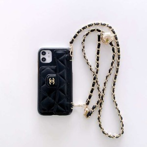 iphone13携帯ケース 女性愛用 アイホン12Pro chanelスマホケースレザー 肩掛けアイフォン 12/12 miniシ ...